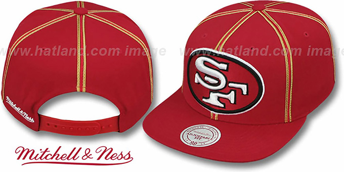 49ers 'XL-LOGO SOUTACHE SNAPBACK' Red Adjustable Hat by Mitchell & Ness : pictured without stickers that these products are shipped with
