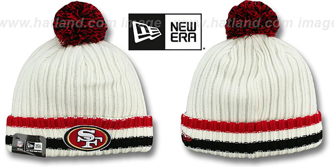 49ers 'YESTER-YEAR' Knit Beanie Hat by New Era : pictured without stickers that these products are shipped with