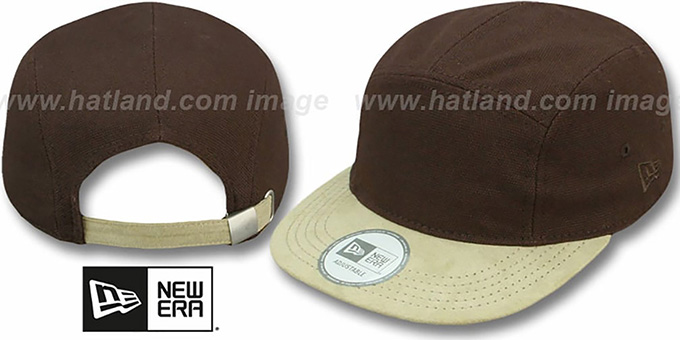 5-Panel 'CAMPER' Brown-Khaki Hat by New Era : pictured without stickers that these products are shipped with