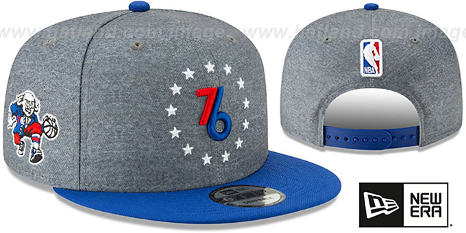 premium selection 6cd05 5c71c 76ers  18-19 CITY-SERIES SNAPBACK  Grey-Royal Hat by New
