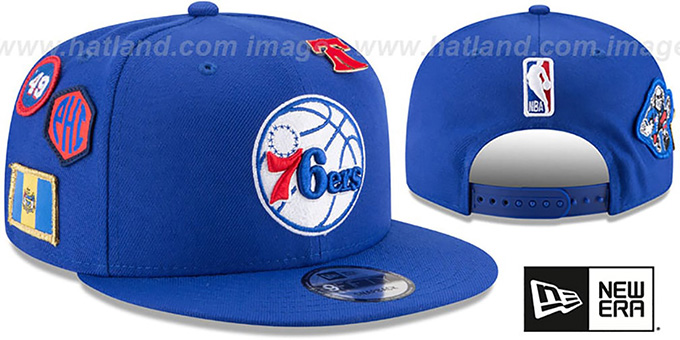 76ers '2018 NBA DRAFT SNAPBACK' Royal Hat by New Era : pictured without stickers that these products are shipped with