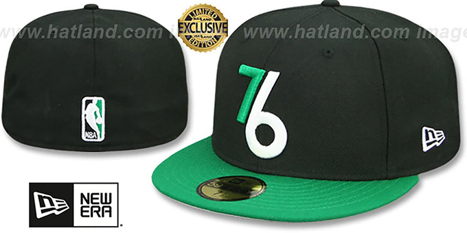 new style 57e29 1b2aa 76ers  2T ALT OPPOSITE-TEAM  Black-Green Fitted Hat by New Era