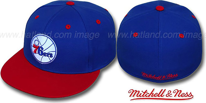 76ers '2T CLASSIC THROWBACK' Royal-Red Fitted Hat by Mitchell & Ness : pictured without stickers that these products are shipped with