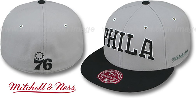 76ers '2T XL-WORDMARK' Grey-Black Fitted Hat by Mitchell & Ness : pictured without stickers that these products are shipped with