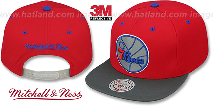 76ers '3M XL-LOGO SNAPBACK' Red-Grey Hat by Mitchell and Ness : pictured without stickers that these products are shipped with