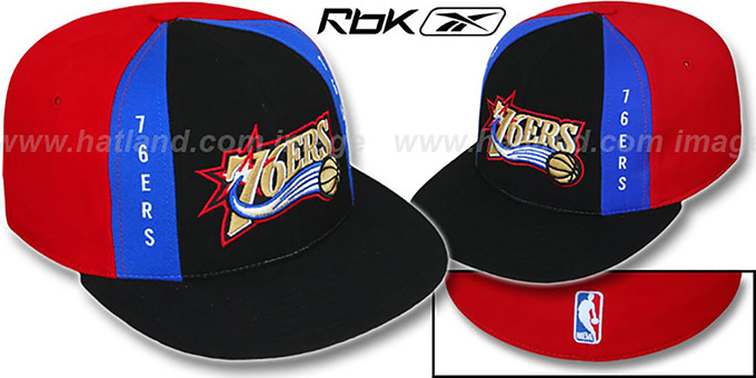 76ers 'AJD PINWHEEL' Black-Red Fitted Hat by Reebok : pictured without stickers that these products are shipped with