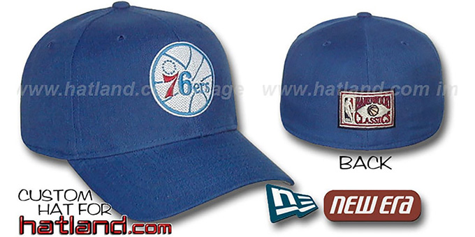 76ers 'BASIC HARDWOOD' Fitted Hat by New Era - royal : pictured without stickers that these products are shipped with