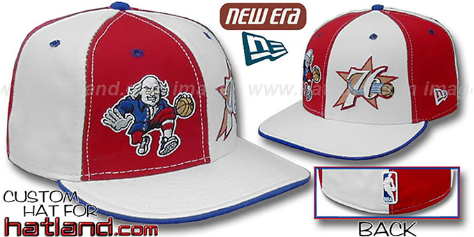 76ers 'BEN FRANKLIN' DW Red-White Fitted Hat : pictured without stickers that these products are shipped with