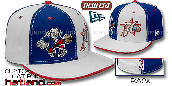76ers 'BEN FRANKLIN' DW Royal-White Fitted Hat : pictured without stickers that these products are shipped with