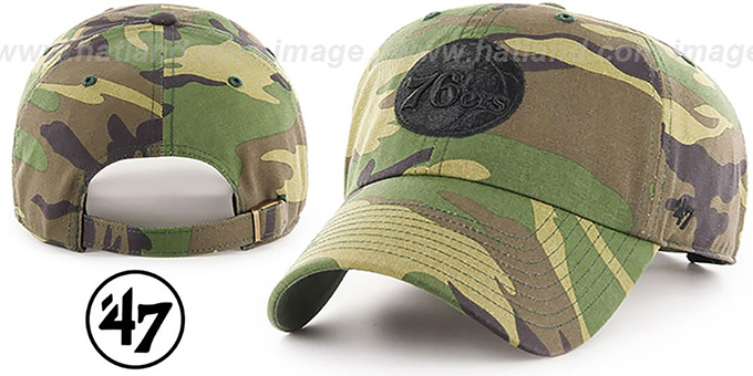 76ers 'BLACK LOGO CLEAN-UP STRAPBACK' Army Camo Hat by Twins 47 Brand
