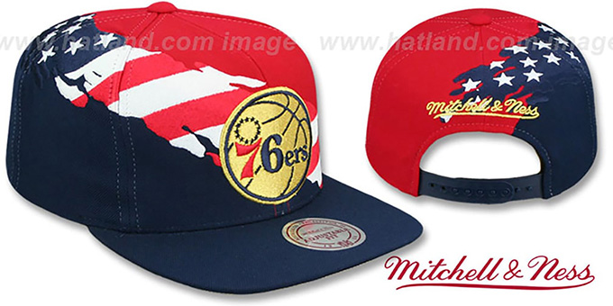 7d5741bd2302 76ers  BRUSHED FLAG SNAPBACK  Red-Navy Hat by Mitchell and Ness
