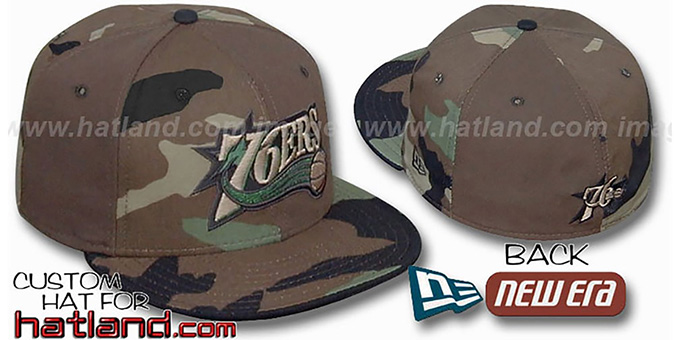 76ers CAMO 'PINWHEEL' Brown-Woodland Fitted Hat : pictured without stickers that these products are shipped with