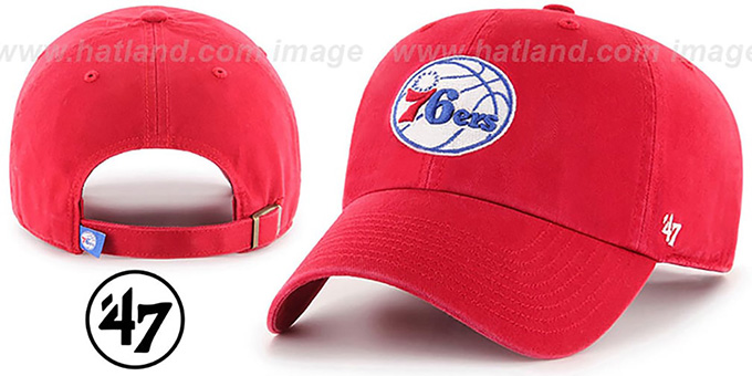 76ers 'CLEAN-UP STRAPBACK' Red Hat by Twins 47 Brand : pictured without stickers that these products are shipped with