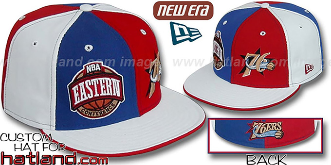 76ers CONFERENCE 'DOUBLE WHAMMY' Fitted Hat by New Era : pictured without stickers that these products are shipped with