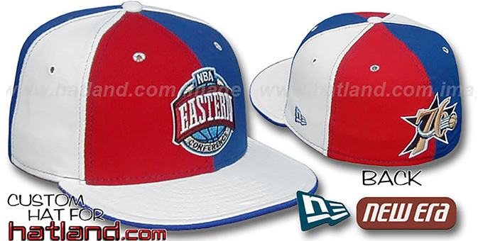 76ers CONFERENCE 'PINWHEEL' Red-Royal-White Fitted Hat : pictured without stickers that these products are shipped with