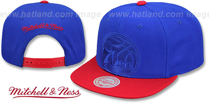 76ers 'CROPPED SATIN SNAPBACK' Royal-Red Adjustable Hat by Mitchell and Ness
