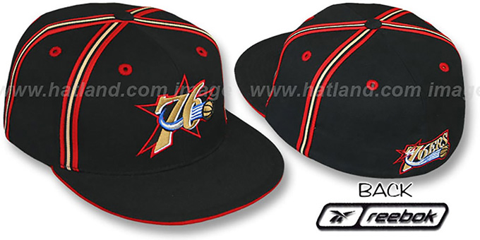 76ers 'DOUBLE DRIBBLE' Fitted Hat by Reebok - black : pictured without stickers that these products are shipped with