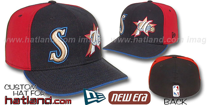 76ers 'DOUBLE WHAMMY' Black-Red Fitted Hat : pictured without stickers that these products are shipped with