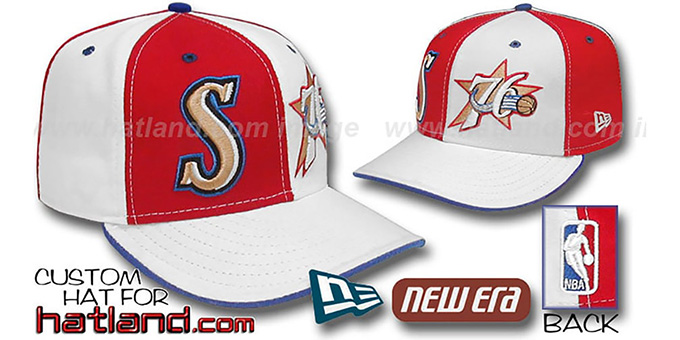 76ers 'DOUBLE WHAMMY' Red-White Fitted Hat : pictured without stickers that these products are shipped with