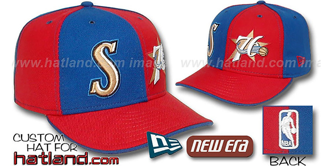 76ers 'DOUBLE WHAMMY' Royal-Red Fitted Hat : pictured without stickers that these products are shipped with