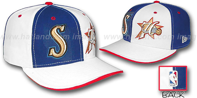 76ers 'DOUBLE WHAMMY' Royal-White Fitted Hat : pictured without stickers that these products are shipped with
