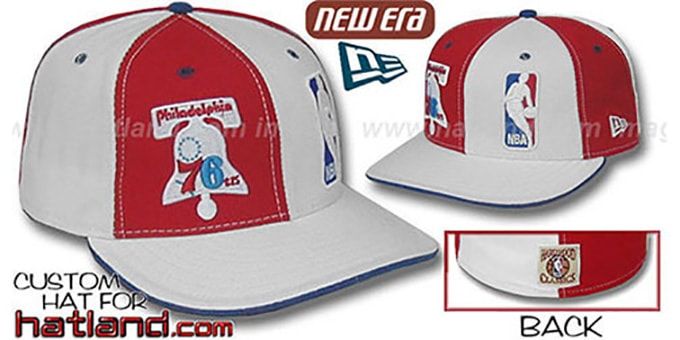 76ers DW 'OLD-SCHOOL LOGOMAN' Red-White Fitted Hat : pictured without stickers that these products are shipped with