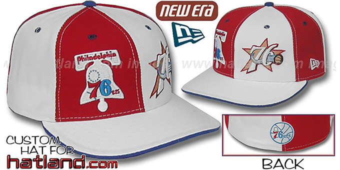 76ers DW 'THEN and NOW' Red-White Fitted Hat : pictured without stickers that these products are shipped with
