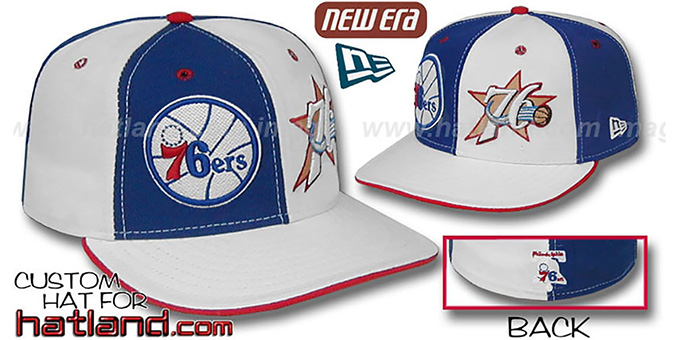76ers DW 'THEN and NOW' Royal-White Fitted Hat : pictured without stickers that these products are shipped with