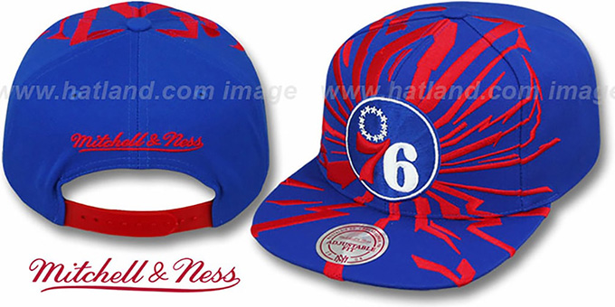 76ers 'EARTHQUAKE SNAPBACK' Royal Hat by Mitchell & Ness : pictured without stickers that these products are shipped with