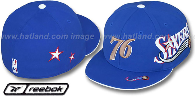 76ers 'ELEMENTS 2' Fitted Hat by Reebok - royal : pictured without stickers that these products are shipped with