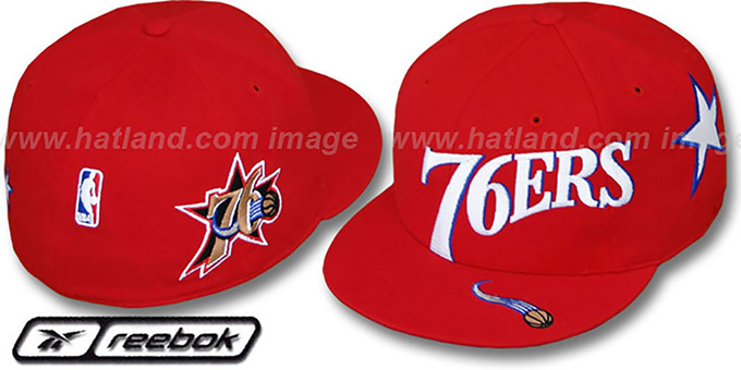 76ers 'ELEMENTS' Fitted Hat by Reebok - red : pictured without stickers that these products are shipped with