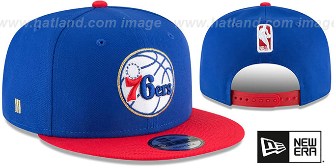 76ers 'GLORY-TURN SNAPBACK' Royal-Red Hat by New Era : pictured without stickers that these products are shipped with