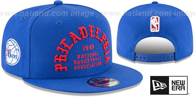 wholesale dealer 1e67d e1c35 76ers  GOTHIC-ARCH SNAPBACK  Royal Hat by New Era