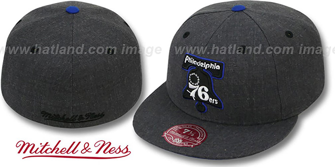 76ers 'GREY HEDGEHOG' Fitted Hat by Mitchell & Ness : pictured without stickers that these products are shipped with