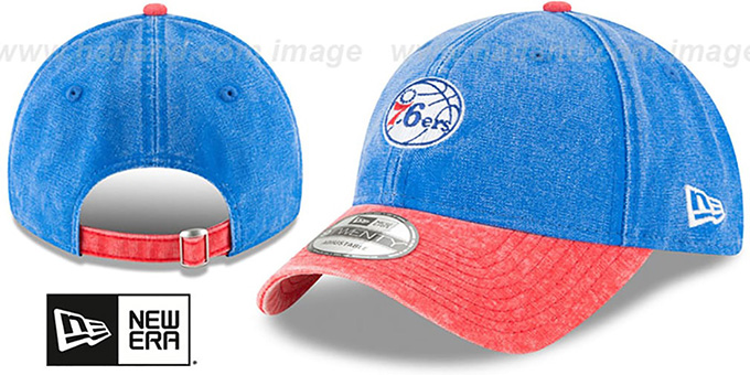76ers 'GW RUGGED CANVAS STRAPBACK' Royal-Red Hat by New Era : pictured without stickers that these products are shipped with