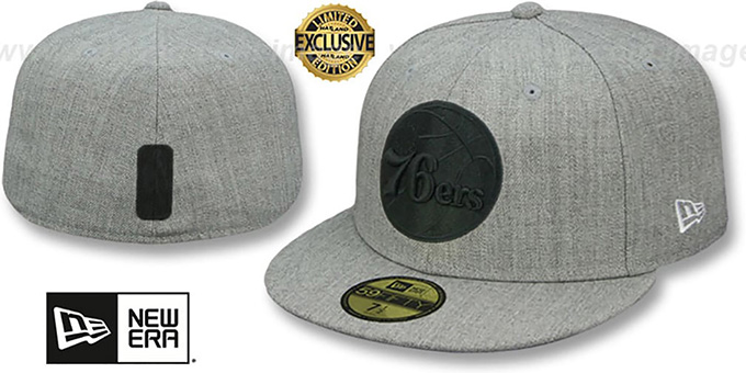 76ers 'HEATHER-POP' Light Grey Fitted Hat by New Era