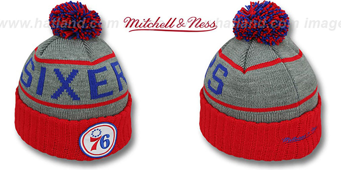 76ers 'HIGH-5 CIRCLE BEANIE' Grey-Red by Mitchell and Ness : pictured without stickers that these products are shipped with