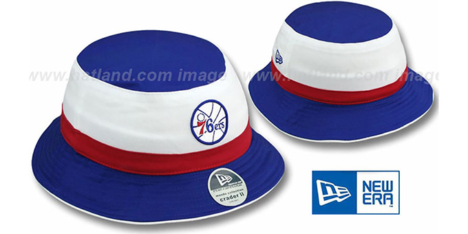 76ers HW Ball 'CRADER II' Bucket Hat by New Era : pictured without stickers that these products are shipped with