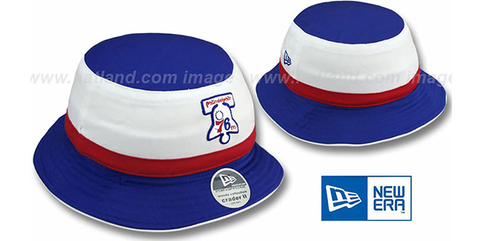76ers HW Bell 'CRADER II' Bucket Hat by New Era : pictured without stickers that these products are shipped with