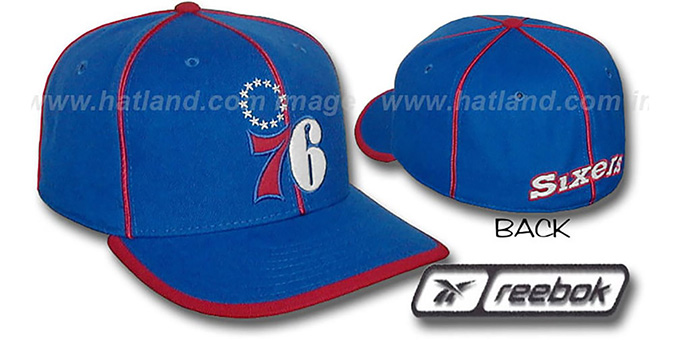 76ers HW 'WILDSIDE' Fitted Hat by Reebok - royal : pictured without stickers that these products are shipped with
