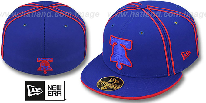76ers 'HWC CHALKLINE' Royal-Red Fitted Hat by New Era : pictured without stickers that these products are shipped with
