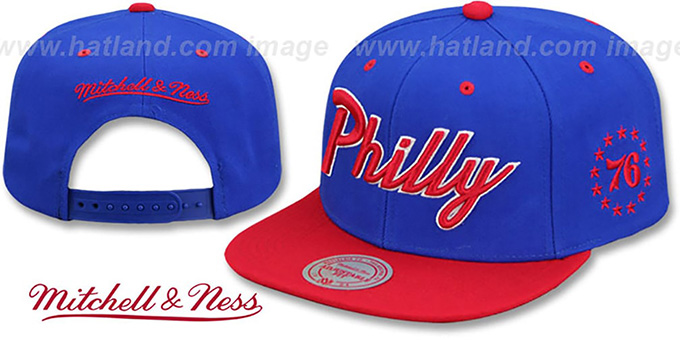 76ers HWC 'CITY NICKNAME SCRIPT SNAPBACK' Royal-Red Hat by Mitchell and Ness : pictured without stickers that these products are shipped with