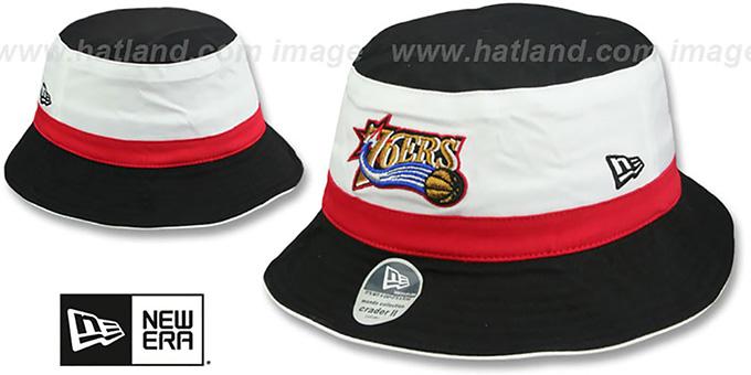 824d8e11680 Philadelphia 76ers HWC CRADER II Bucket Black Hat by New Era