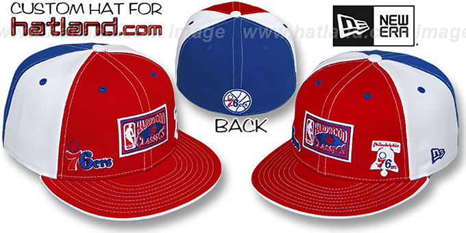 76ers 'HWC TRIPLE THREAT' Red-White-Royal Fitted Hat by New Era : pictured without stickers that these products are shipped with