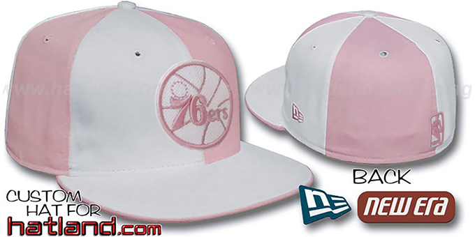 76ers HW 'PINWHEEL' White-Pink Fitted Hat by New Era : pictured without stickers that these products are shipped with