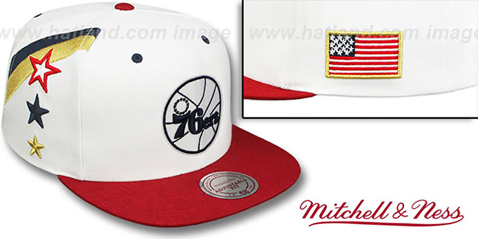 76ers 'INDEPENDENCE SNAPBACK' Hat by Mitchell and Ness : pictured without stickers that these products are shipped with