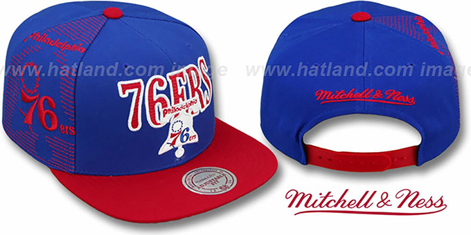 76ers 'LASER-STITCH SNAPBACK' Royal-Red Hat by Mitchell & Ness : pictured without stickers that these products are shipped with