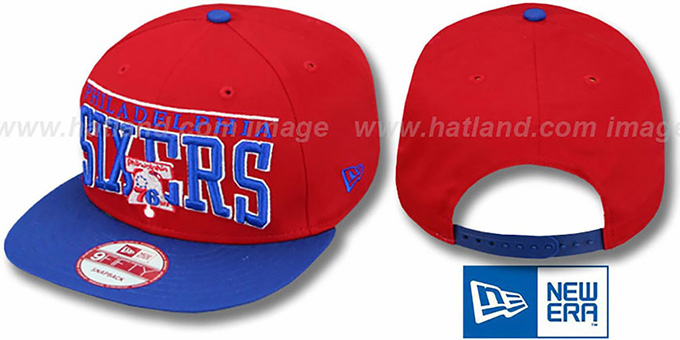 76ers 'LE-ARCH SNAPBACK' Red-Royal Hat by New Era : pictured without stickers that these products are shipped with