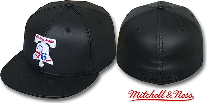 74b595d580c 76ers  LEATHER HARDWOOD  Fitted Hat by Mitchell and Ness