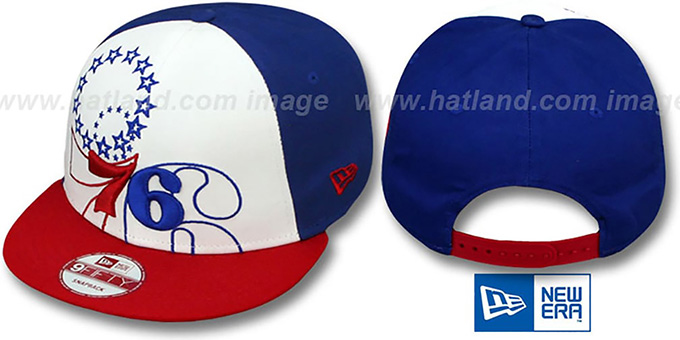 76ers 'LITTLE-BIG POP SNAPBACK' White-Royal-Red Hat by New Era : pictured without stickers that these products are shipped with